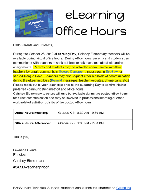 elearning office hours
