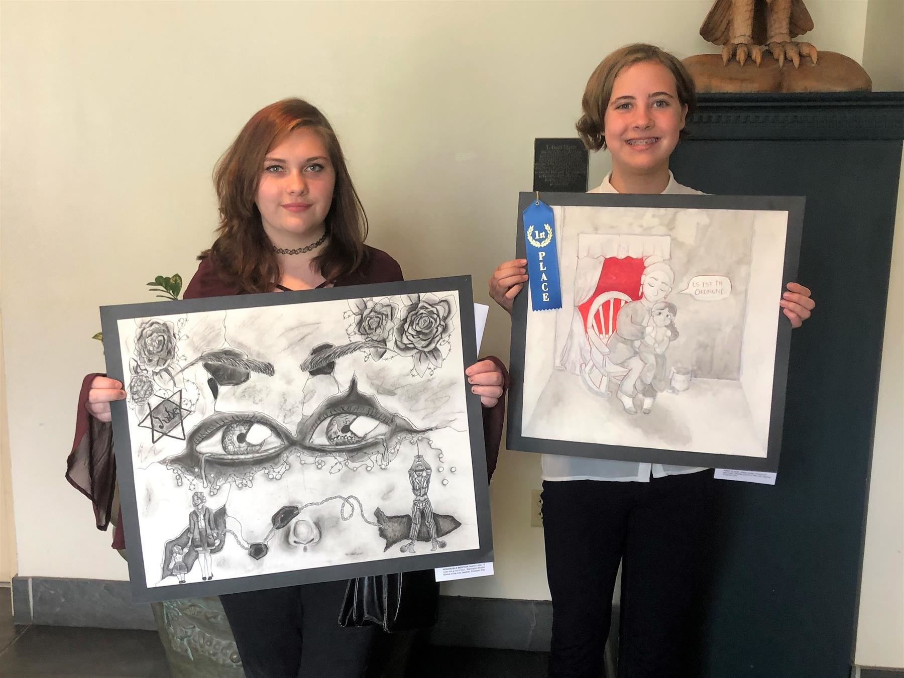 Holocaust Creative Arts Contest: Congratulations Ireland Letizi (7th grade) honorable mention and Abbey Szala (8th grade) first place middle school winner for this year's Holocaust Creative Arts contest. The theme this year was Woman during the Holocaust.