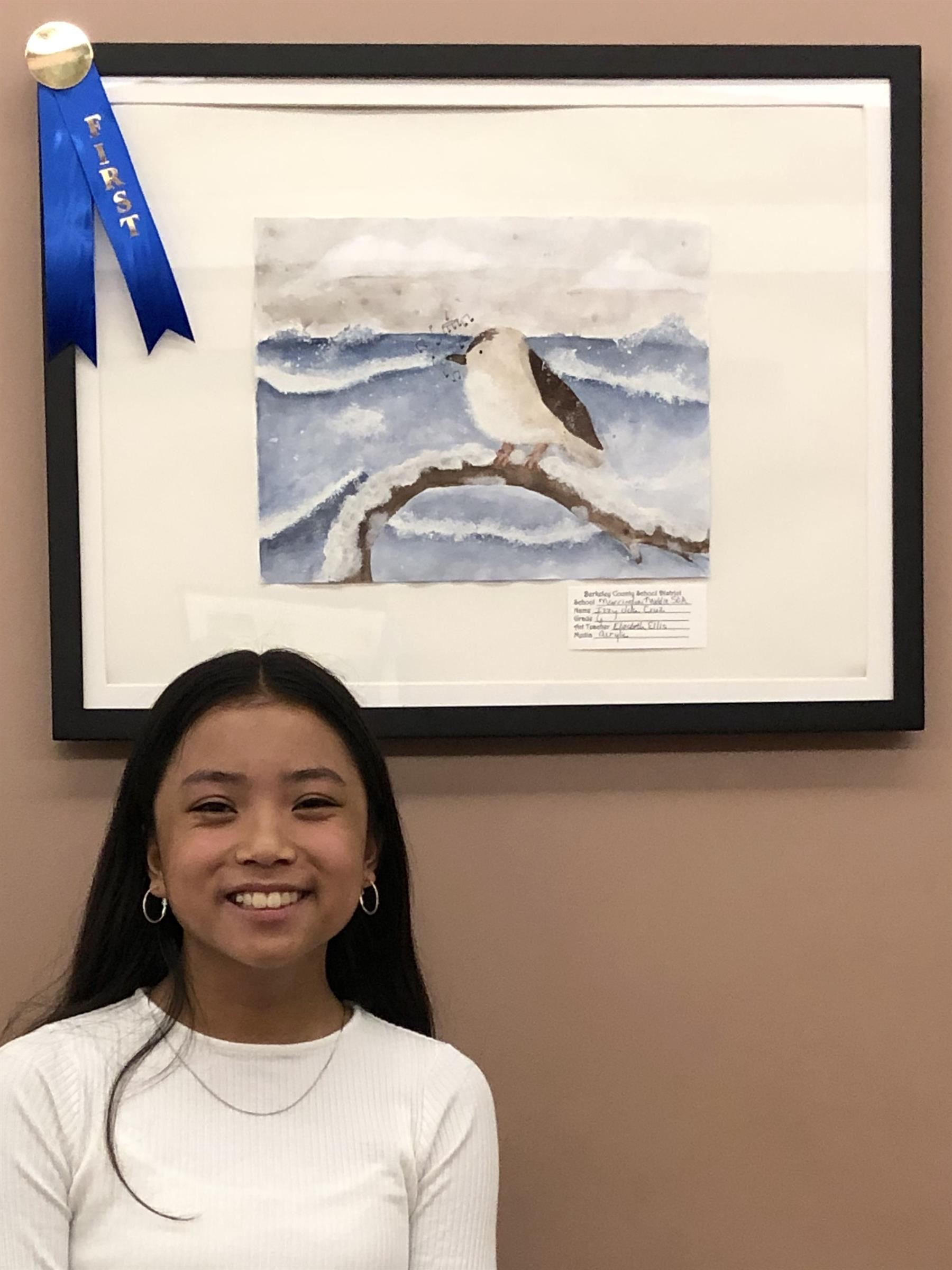 Izzy dela Cruz was awarded first place for the middle school division at the Berkeley County Courthouse Student Art Show.