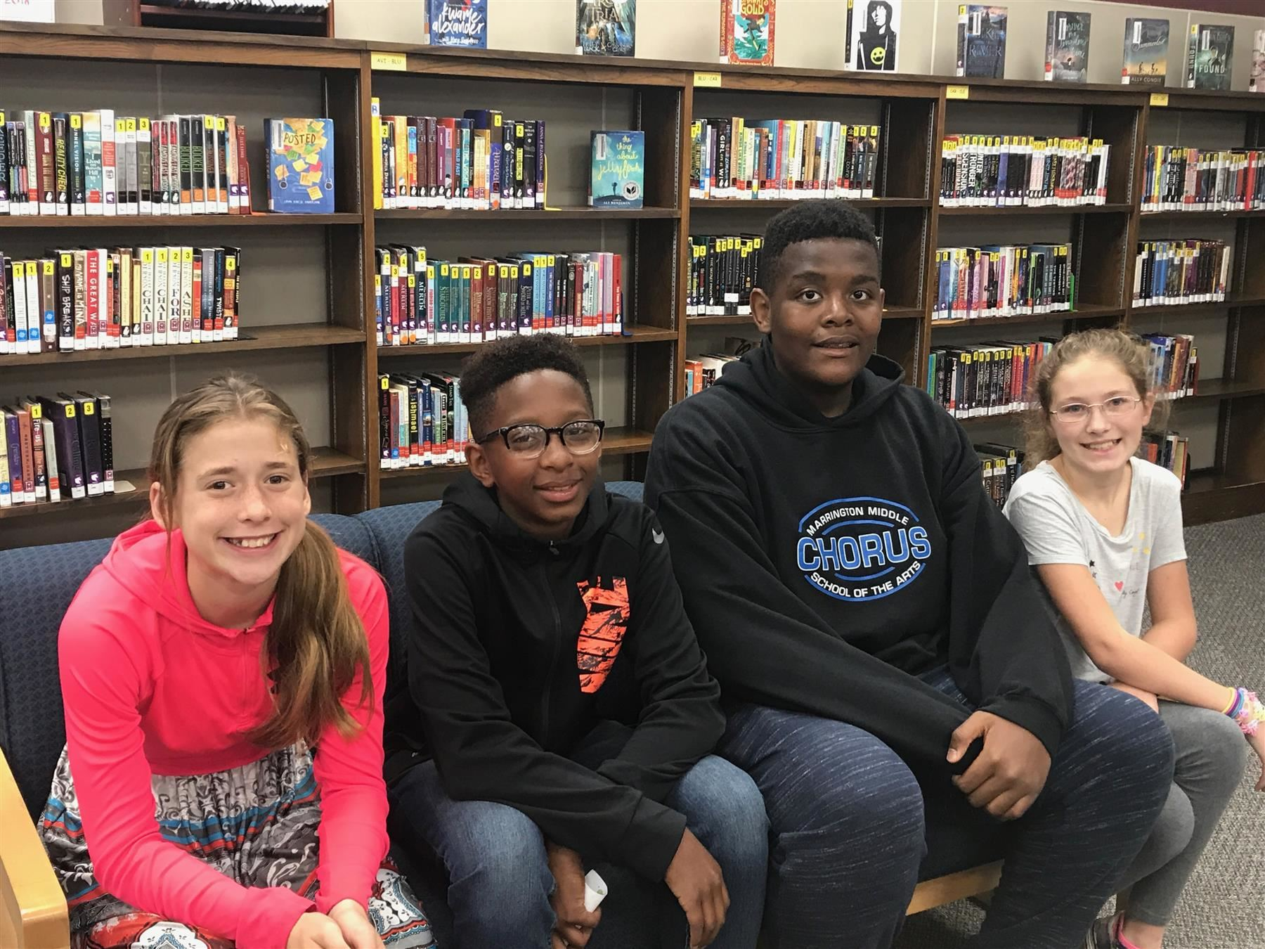 May Students of the Month Who Display Fairness and Cooperation:  Melena Kirar (6th), Jaiden Murray (7th), Deven Johnson (8th), and Victoria Bryant (Fine Arts).  Click here to read why each student was selected for this honor.