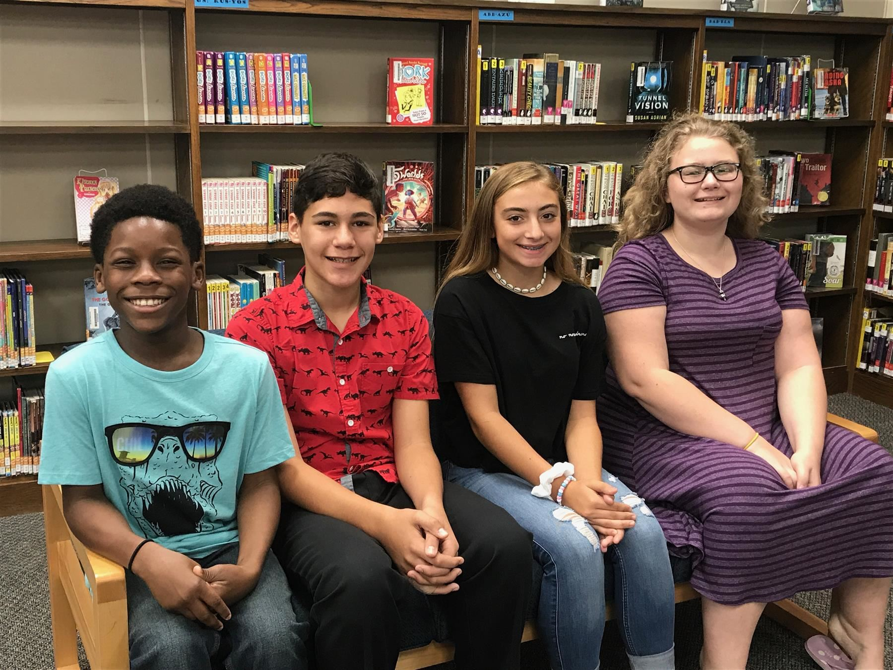September Students of the Month Who Display Respect: Jaiden Charles (6th), Anthony Guadagno (7th), Sydney Williams (8th), and Lila Buchan (Fine Arts).  Click here to read why each student was selected for this honor.