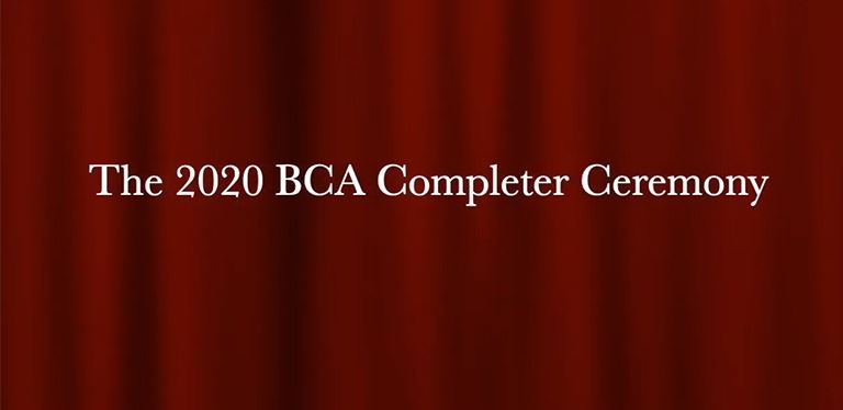 Completer Ceremony Banner Image - Red curtains with white text