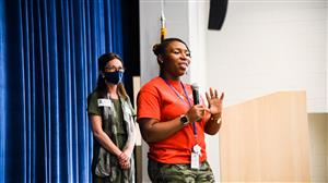 brittany lawrence addresses audience