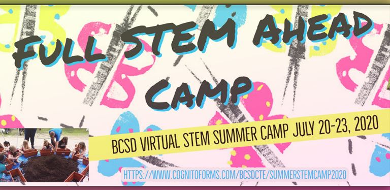 Full STEM ahead camp graphic