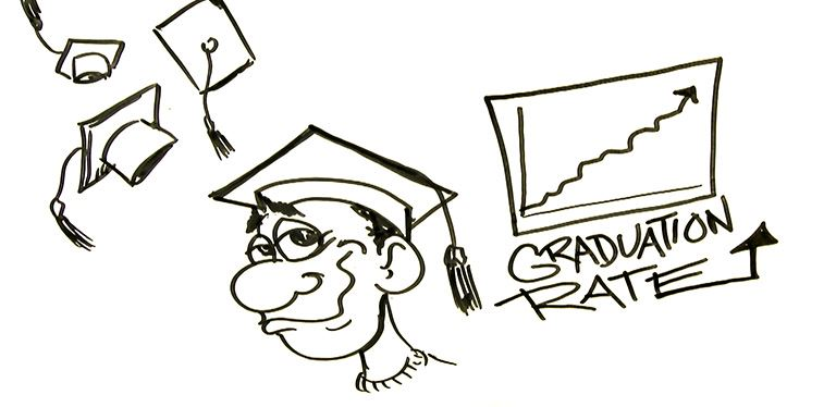 cartoon graduate with grapph