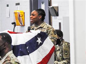 brittany lawrence speaking during change of command ceremony