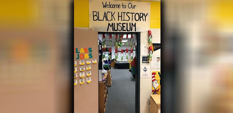 Photo of the entrance to the Black History Month Museum at Goose Creek Elementary