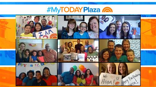 nine boxes featuring families from their homes participating in MyTODAYPlaza