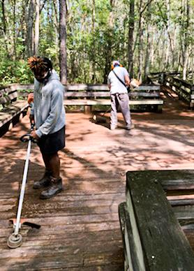 two volunteers cleaning up THS boardwalk