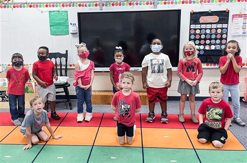 classroom wearing red