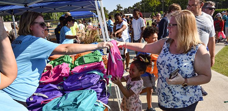 Photo from the backpack giveaway at the 2019 OneBerkeley Back to School Festival
