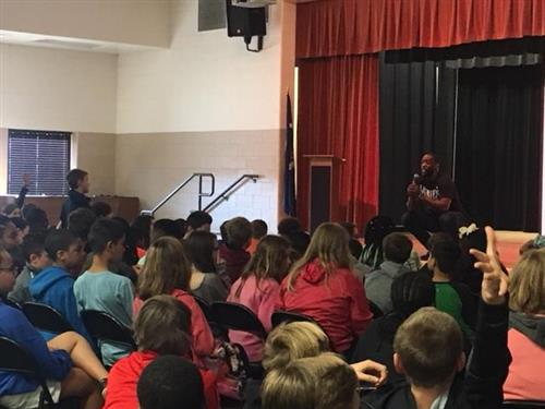 Birch speaking to students at Sangaree Middle