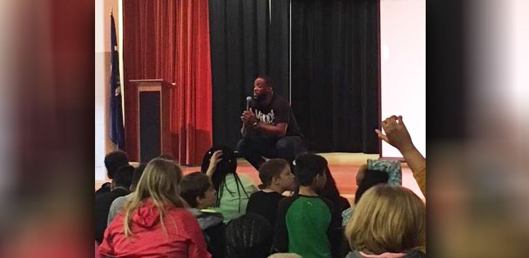 Birch speaks to students at Sangaree Middle School