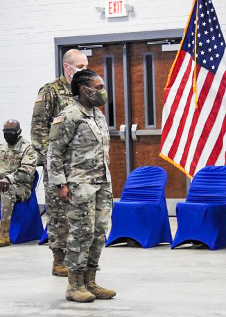 brittany lawrence during change of command ceremony