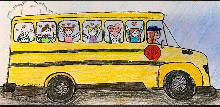 Student artwork of BCSD bus w/ students and driver