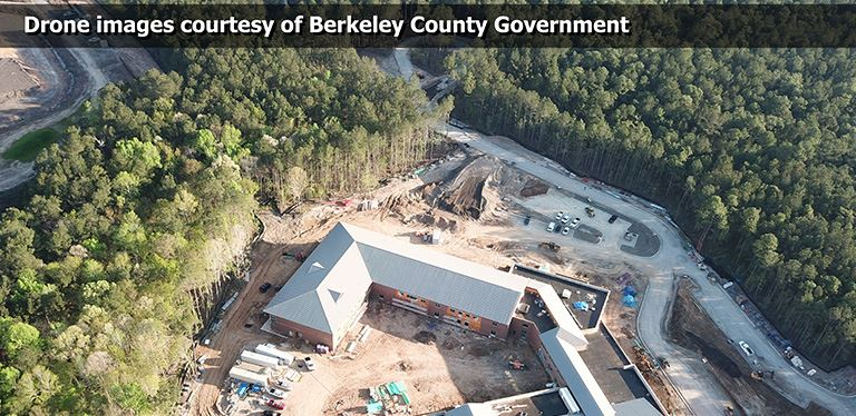 Drone image of work on Bowen's Corner Elementary