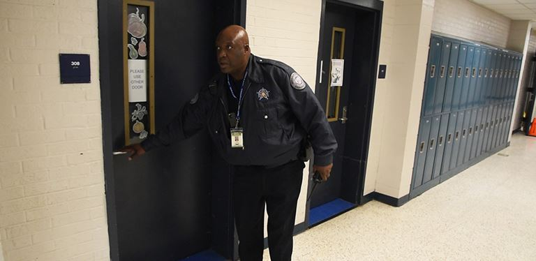 Photo from intruder simulation at Sedgefield Middle