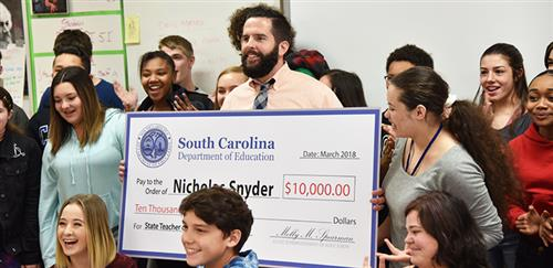 BCSD's Nicholas Snyder considered for SC Teacher of the Year; Announcement to come Wednesday