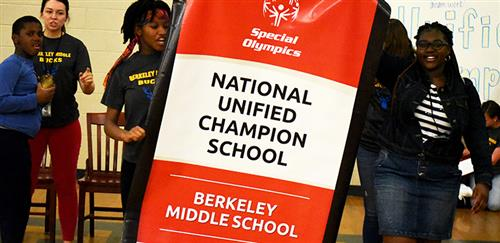 Photo from Berkeley Middle School banner presentation