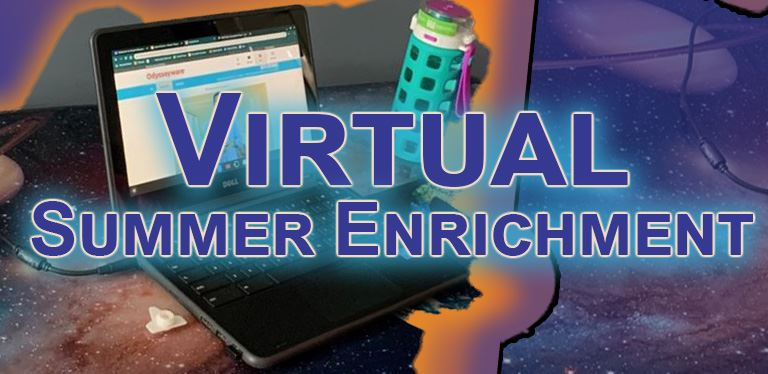 Generic graphic - Virtual Summer Enrichment - Laptop with solar system graphic